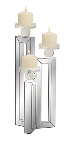 Deco 79 87277 Wood/Mirror Candle Holder, 7'' x 21'' by Deco 79