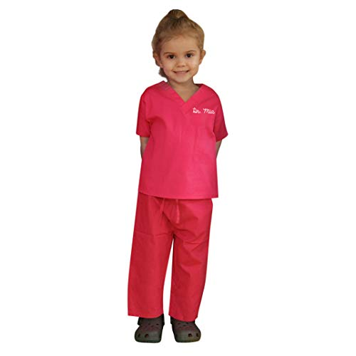 Scoots - Personalized Kids Scrubs, Customized with Your Child's Name, Size 8, Hot Pink]()