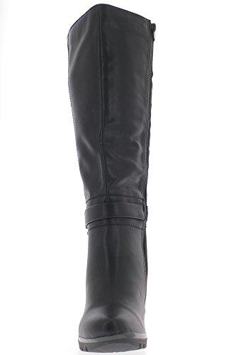 Negro forrado botas con tacones de material bi 9.5 cm