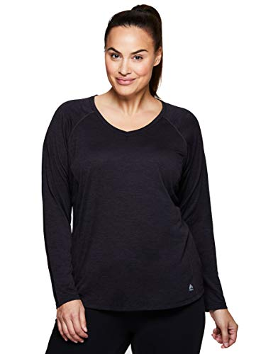V-neck Lined Tank Top (RBX Active Women's Plus Size Long Sleeve Workout V-Neck T-Shirt Black 3X)