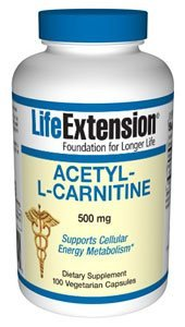 Acetyl L Carnitine 500mg Life Extension 100 VCaps Acetyl L-carnitine 500 Vitamins