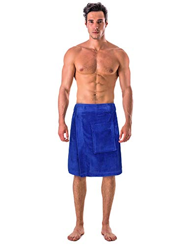 100% Premium Turkish Cotton Terry Velour Adjustable Body Wrap Towel for Men (Royal Blue, One Size)