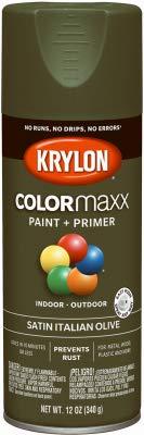Krylon Diversified Brands K05566007 COLORmaxx Spray Paint + Primer, Satin Italian Olive, 12-oz. - Quantity 6 ()