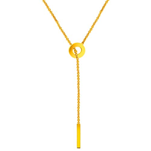 Circular Shaped Pendant - Chic Y Shaped Circular + Cylindrical Design Jewelry Plating 18k Golden Pure Stainless Steel Pendant Chain Necklace of 23 inch/ 56 cm Length