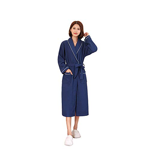 Yifen Unisex 100% Cotton Shawl Collar Waffle Long Bathrobe Dressing Gown with Two Pockets and Belt (L, Navy ()