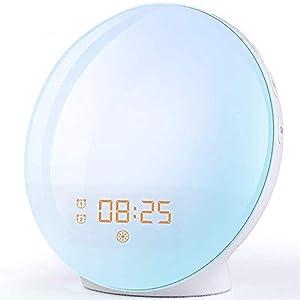 Radio Réveil Matin avec Effets Lumineux Lampe de Chevet avec 20 Alarmes Luminosité Programmables, Simulation du Lever et…