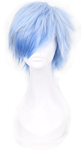 Simpleyourstyle Ice Blue Anime Cosplay Wigs Short Heat Resistant Synthetic Full Wigs for Men 30cm 11.8inch 160g]()