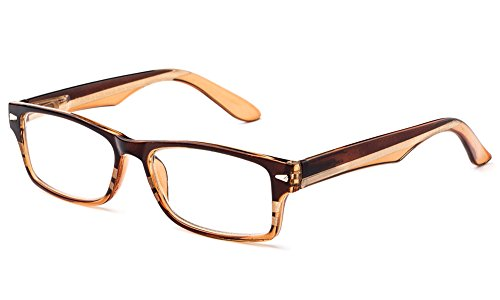 Newbee Fashion - IG Unisex Clear Lens Slim Light Weight Small Plastic Rectangular Frame Clear Lens Glasses with Spring Temple 1928 Brown/Tan