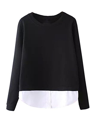Missactiver Women's Layer Sweatshirt Pullover Cotton Spliced Colorbloack Twofer Shirt (Large, Black)