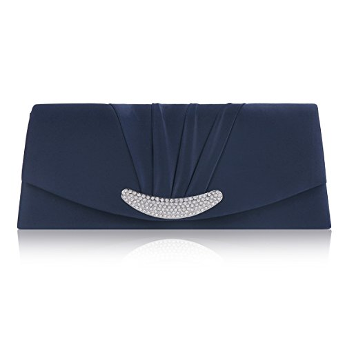 Damara Womens Royal Crescent Rhinestones Pleated Evening Bag,Navy Blue (Evening Pleated Bag)