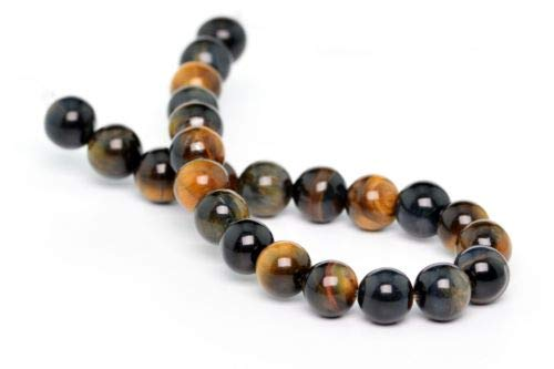 - 8mm Natural Yellow Blue Tiger Eye Beads Grade Round Loose Beads 7.5'' Crafting Key Chain Bracelet Necklace Jewelry Accessories Pendants