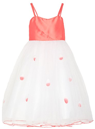 Price comparison product image Wonder Girl Big Girls' Taffeta Tulle Tea Length Long Dress Coral S8