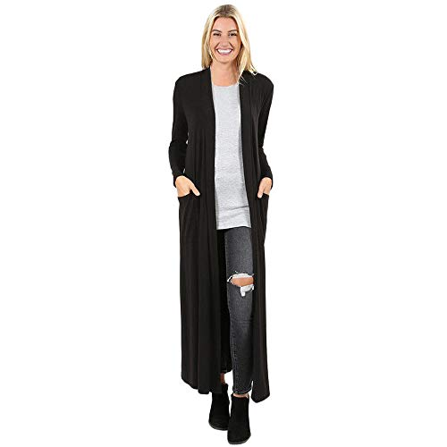 Women Full Length Cardigan,Cenglings Casual Open Front Solid Long Sleeve Pocket Coat Ankle Length Long Jacket Black
