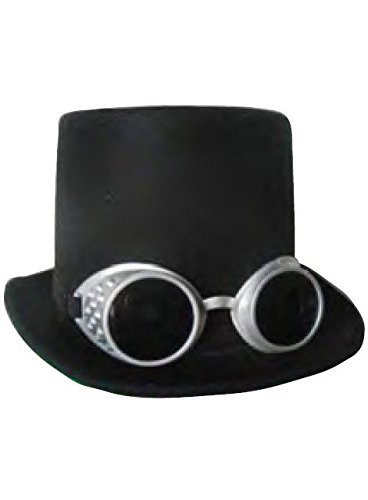 Steampunk Black Top Hat with Silver - Goggles Top