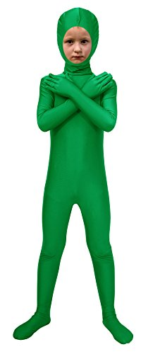 Zipper Face Halloween Costumes (Sheface Spandex Face Out Second Skin Zentai Full Body Costume (Small, Green))