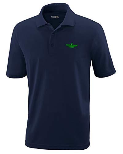 Speedy Pros Polo Performance Shirt Green Senior Enlisted Aircrew Member Sew Polyester Golf Shirt for Men Navy Large Design Only