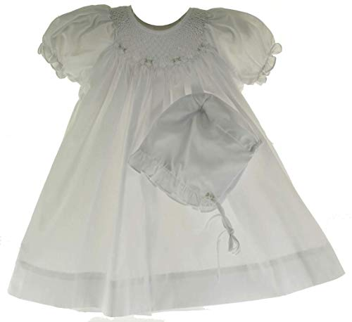Girls White Smocked Dress with Bonnet Set Bishop Daygown 3M ()