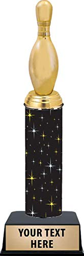 11 Inch Bowling Pin Trophies - Black Midnight Bowling Pin Trophy Awards Prime (Bowling Personalized Pin)