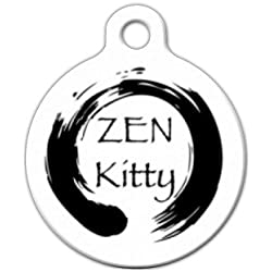 Dog Tag Art Custom Pet ID Tag for Cats - Zen Kitty - Small - .875 inch