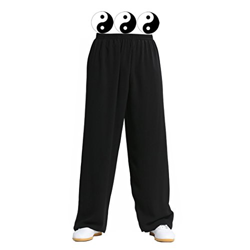 [Timebus Traditional Style COTTON & LINEN Breathable Soft Tai Chi Martial Arts Yoga Running Pants, Elastic Waist, Black (Black,] (Black Martial Arts Costume)