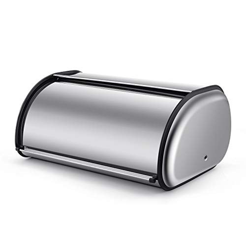 Flexzion Stainless Steel Bread Box Holder (17 inch) Metal Roll Up Top Lid Bread Container Storage Bin Keeper for Homemade Cake Buns Loaves Pastries Pancakes Cookies, Ideal for Restaurants Home Kitchen ()