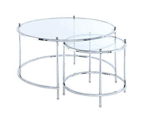 Convenience Concepts Royal Crest Nesting Round Coffee Table, Clear Glass/Chrome Frame (Nest Silver Tables Of)