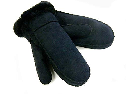 Surell Black Lined Faux Shearling Mittens - Warm Sheepskin Gloves - Cold Weather ()