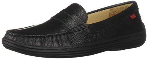 MARC JOSEPH NEW YORK Unisex-Kid's Leather Boys/Girls Casual Comfort Slip On Moccasin Loafer Shoes Driving Style, Black Grainy 11 Little Kid M US Little Kid