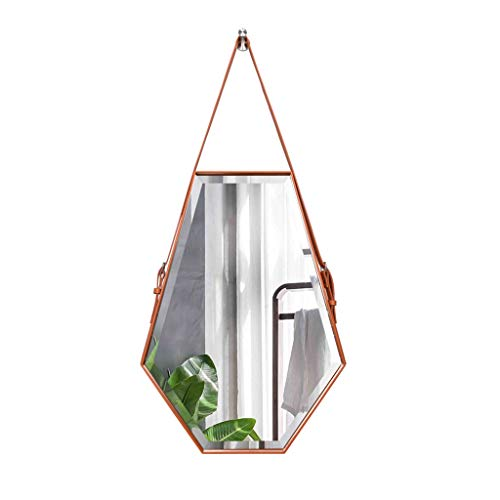 - Wall-Mounted Porch Mirror Six-Sided Diamond-Shaped Washbasin Makeup Mirror Leather Border Mirror (Color : Orange, Size : 5070cm)
