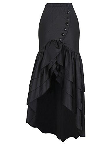 Couches Gothique Steampunk Jupe Femmes Burvogue Black10 Multi Vintage Dguisement Mousseline S67ROw