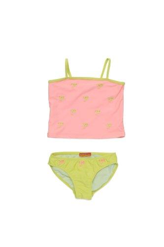 Kate Mack - Palm Beach Girl's 2 Piece Embroidered Swim Tankini and Bottom in Coral - Size 4 - Tankini Kate Mack Nylon
