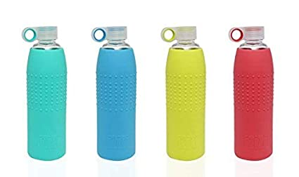 5b1e2bdbf1 IZIZI Glass Water Bottle with Silicone Sleeve 1Litre Blue Red Green Yellow
