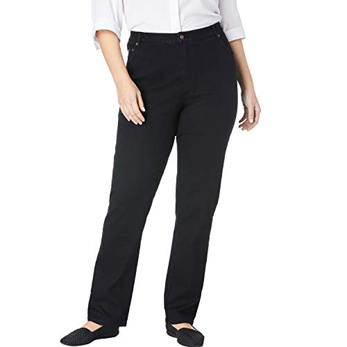 Woman Within Women's Plus Size Straight Leg Stretch Jean - Black Denim, 26 W