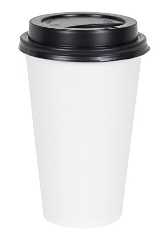 2dayShip 50 Pack WHITE Paper Coffee Hot Cups with BLACK Travel Lids - 16 (Black Hot Cup Lid)