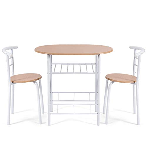 3 pcs Home Kitchen Bistro Pub Dining Table 2 Chairs Set Living Room Useful Furniture Solid and Durable Construction Modern Design Comfortable Seats Home Restaurant Decor with Wine Storage (Tan)
