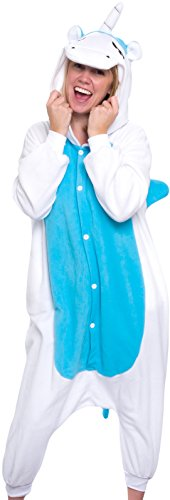 Silver Lilly Adult Pajamas - One Piece Cosplay Animal Costume (Blue Unicorn, S) - Unicorn Costumes Teen