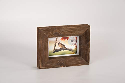 - 4x6 Walnut - Brown Rustic Picture Frame - PREMIUM QUALITY - Reclaimed Wooden Photo Frame - Wall Mounting or Tabletop Display - Solid & Thick Natural Pine Tree (1.6