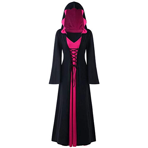 LOKODO Women's Plus Size Halloween Hooded Lace Up Patchwork Long Sleeve Maxi Dress Witch Costume Hot Pink XL