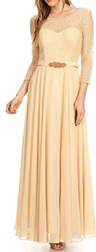 Belle Maids Lace and Chiffon Mother's Dress 3227V-BM-CHAMPAGNE-M