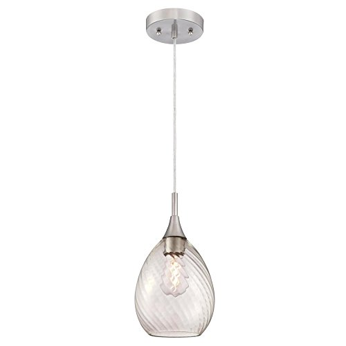 Westinghouse Lighting 6362900 One-Light Mini, Brushed Nickel Finish with Clear Swirl Glass Indoor Pendant,