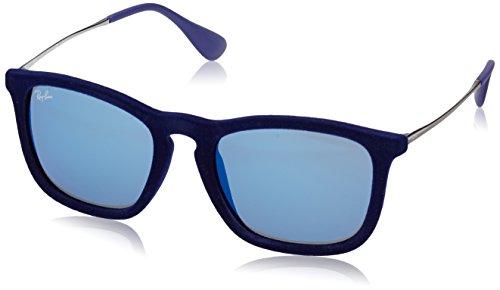 Ray-Ban CHRIS - FLOCK BLUE Frame BLUE MIRROR Lenses 54mm - Rb4187 Chris