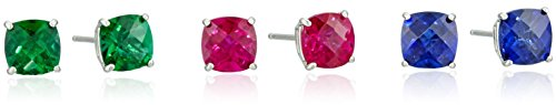 Set-of-Three-Precious-Gemstone-and-Sterling-Silver-Cushion-Cut-Stud-Earrings