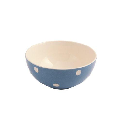 Fairmont and Main Earthenware Kitchen Spot Coupe Bowls, Set of 4, Blue/Cream