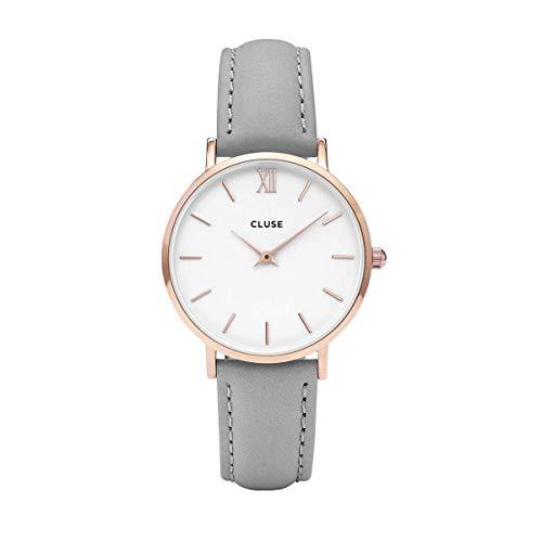 CLUSE Minuit Rose Gold White Grey CL30002 Women's Watch 33mm Leather Strap Minimalistic Design Casual Dress Japanese Quartz Elegant Timepiece (Business Card Japanese)