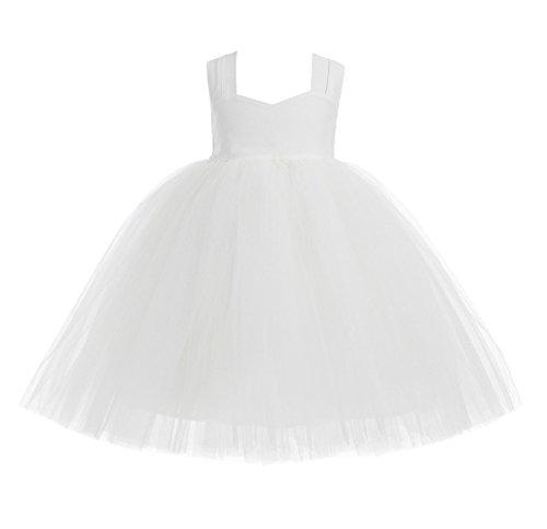 ekidsbridal Ivory Sweetheart Neck Cotton Tutu Flower Girl Dress Christening Gown 171 6 (Gowns Designer Christening)