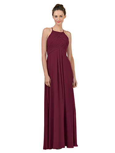 Alicepub Long Chiffon Plus Size Bridesmaid Dress Maxi Evening Gown A Line Plus Party Dress, Burgundy, US14 from Alicepub