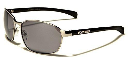 X-Loop Metall Sonnenbrille Unisex Damen Herren Sport Sonnenbrille mit Kunststoffbügel XZf0S87