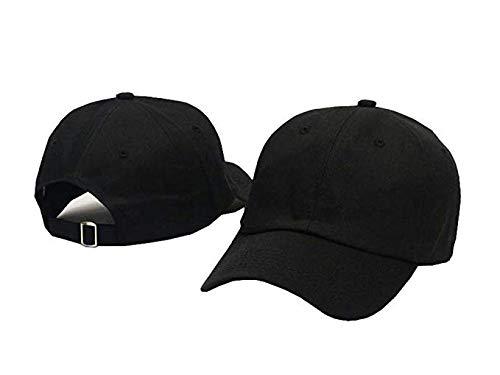 Plan Blank 100% Cotton Dad Hats Baseball Caps For Man And Women (Black) (Black Womens Cap Adjustable)