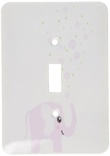(3dRose lsp_113125_1 Cute pink elephant blowing flowers from trunk - girly kawaii kids nursery animal baby girl cartoon Single Toggle Switch, Multicolor)