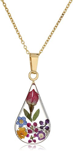 - 14k Gold Over Sterling Silver Multi Pressed Flower Teardrop Pendant Necklace, 16